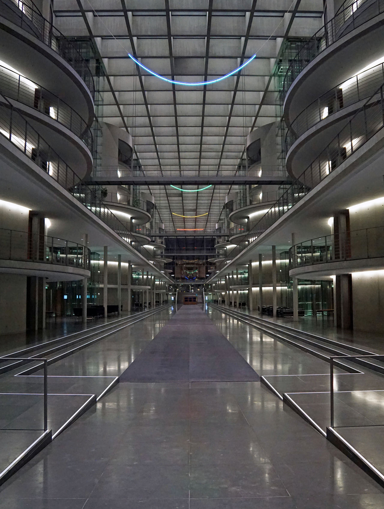 Architecture Berlin Built Structure Concrete Concrete Floor Concrete Texture Concrete Wall German Government Illuminated Indoors  Metal Modern No People Paul-Löbe-Haus Symetry Symmetrical Symmetry