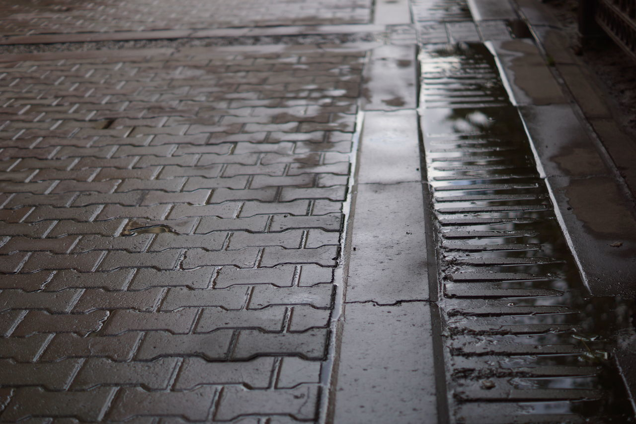 day, street, outdoors, wet, no people, close-up, water