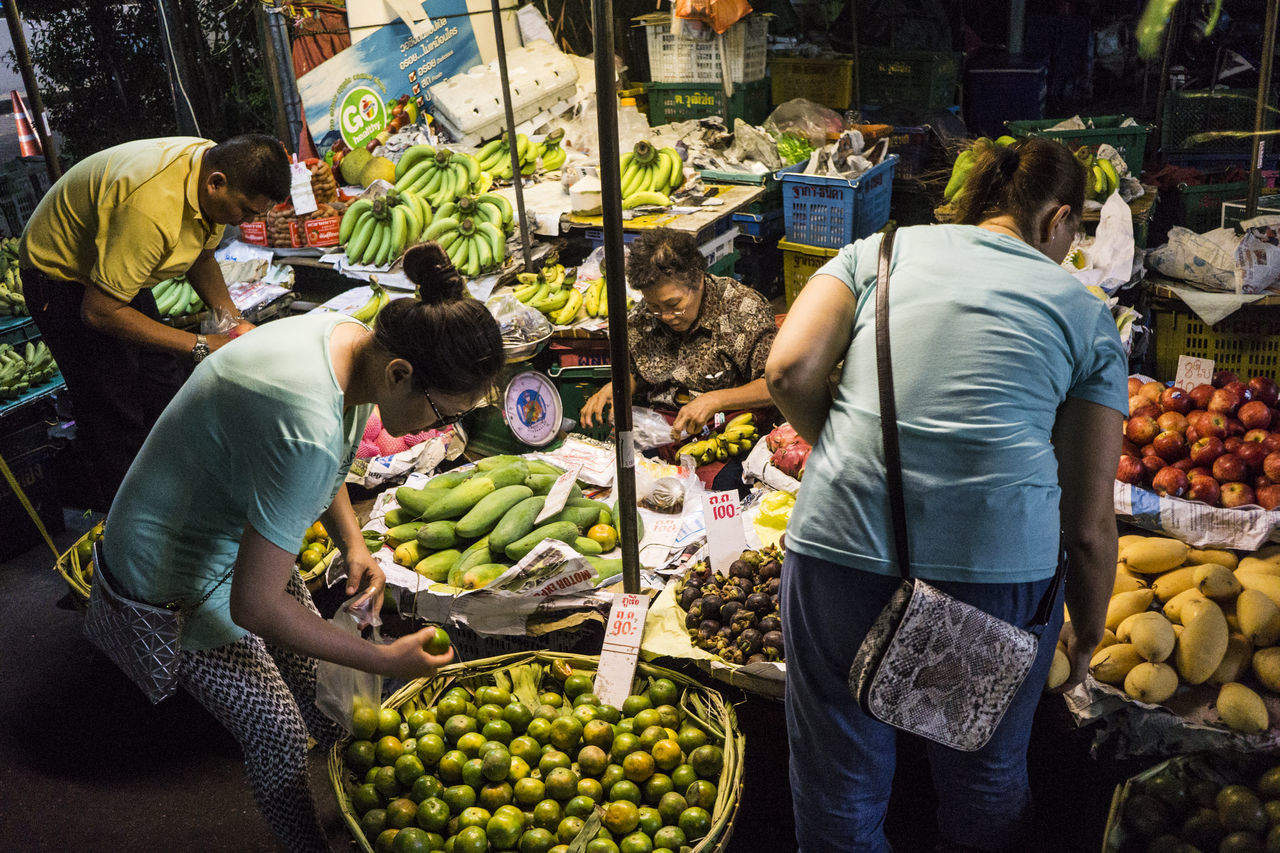 Bangkok Thailand. Clickbychatchai Fresh Fruits Housewife Market Market Stall Nightmarket Real People Shopping Women