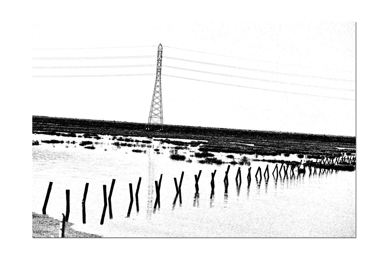 Stakes @ Edens Landing 4 Ecological Reserve Water Level Indicator Restored Marsh Tidal Marsh Saltwater Wetlands Wildlife Habitat Birdlife Bay Ecosystem South Bay Salt Ponds Restoration Project California Dept Of Fish & GameSave The Bay Est 2003 Bring Back Endangered Species Nature Nature_collection Nature Photography Black And White Black And White Collection  Black And White Photography Graphic Pen Reflections Landscapes With WhiteWall Chromosome Likeness