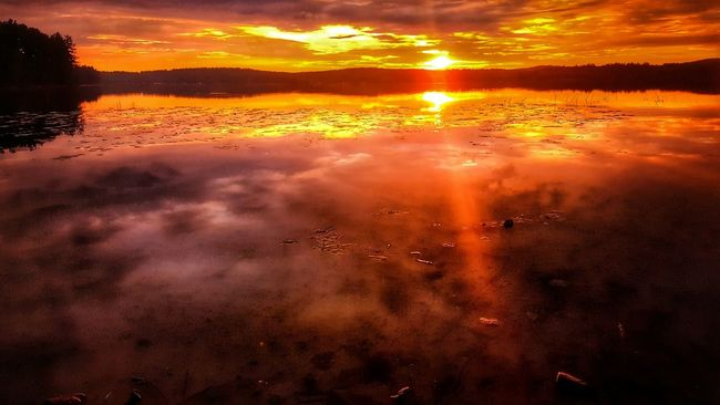 Good morning.... ☕☉ Sunset Scenics Tranquil Scene Water Beauty In Nature Tranquility Idyllic Reflection Majestic Nature Calm Orange Color Cloud - Sky Cloud Sun Non-urban Scene Mountain Sunbeam Sky Sea Water Reflections Water_collection Lake