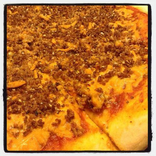 Vegan Pizza topped homemade pepperoni and hemp seeds. Vegan Plantbased Pizza PlantBuilt First Eyeem Photo