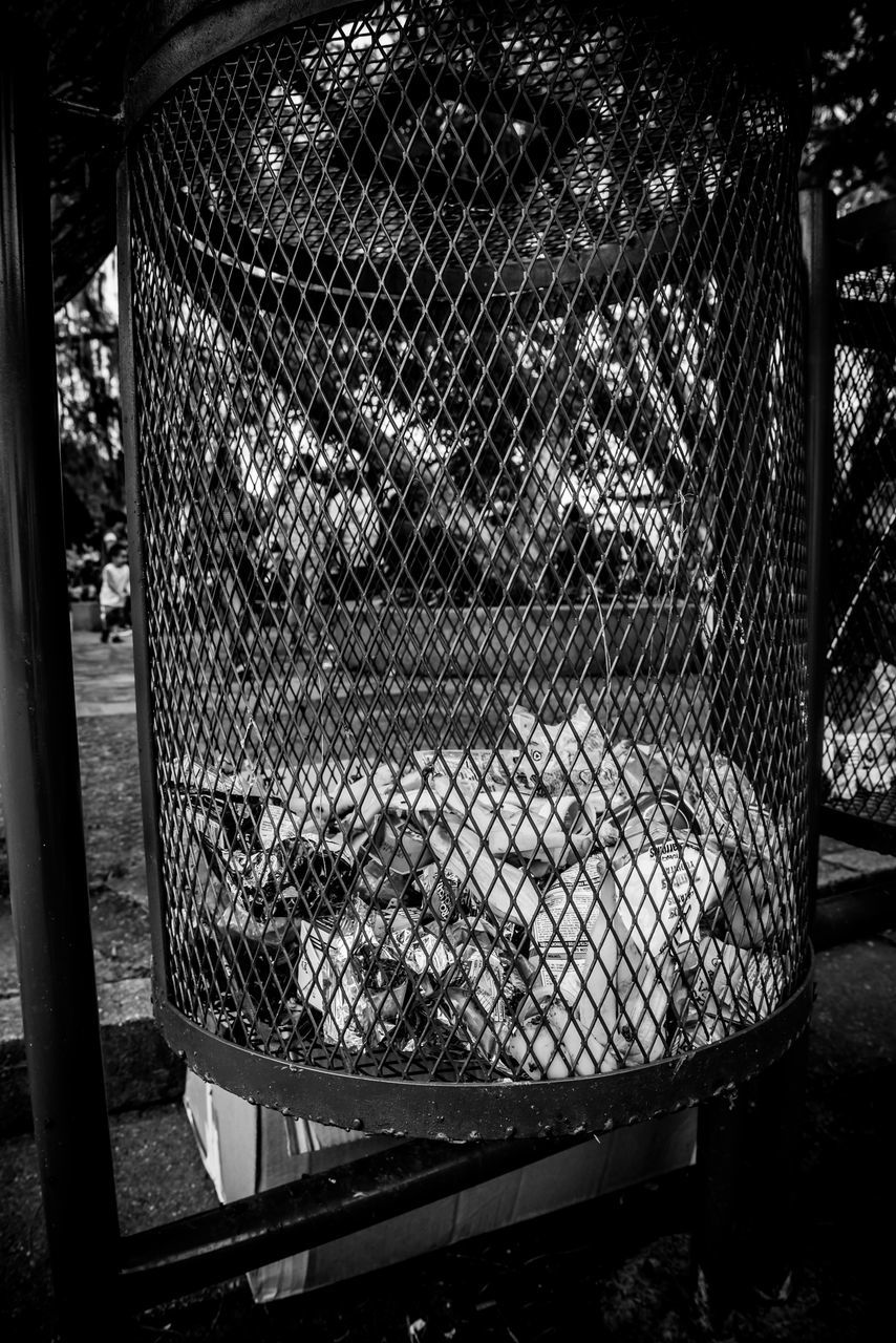 metal, cage, no people, metal grate, outdoors, day, close-up, animal themes