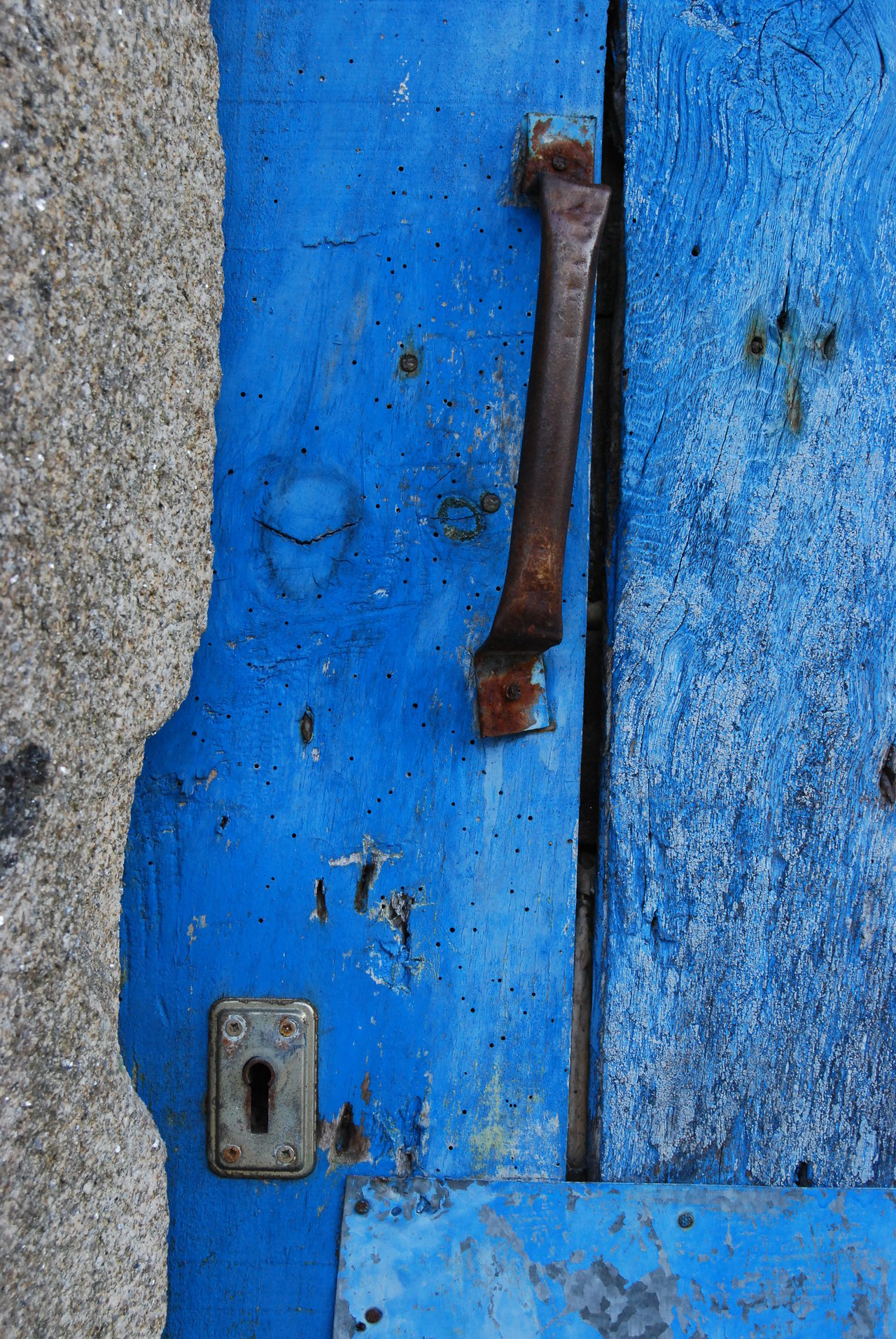 Old blue door Blue Blue Wave Closed Handle Lock Old Old_door Wood - Material
