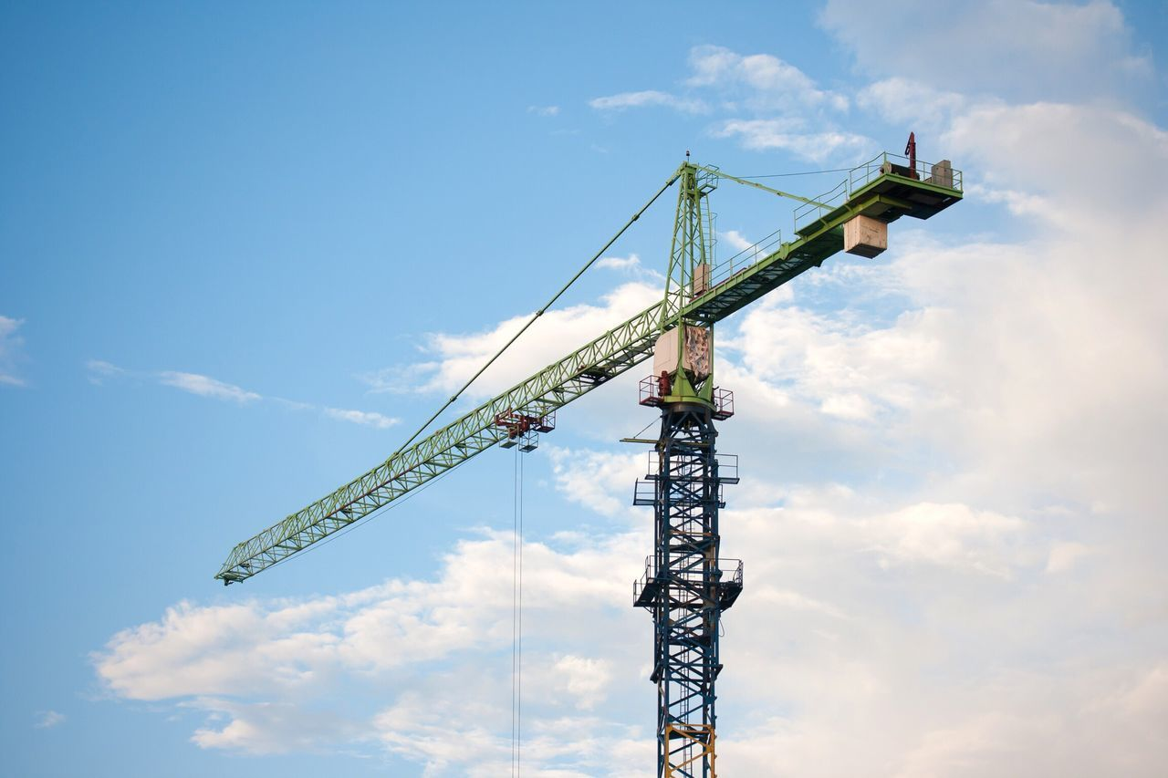 Sky Low Angle View Construction Day Outdoors Cloud - Sky Nature No People Crane Crane - Construction Machinery