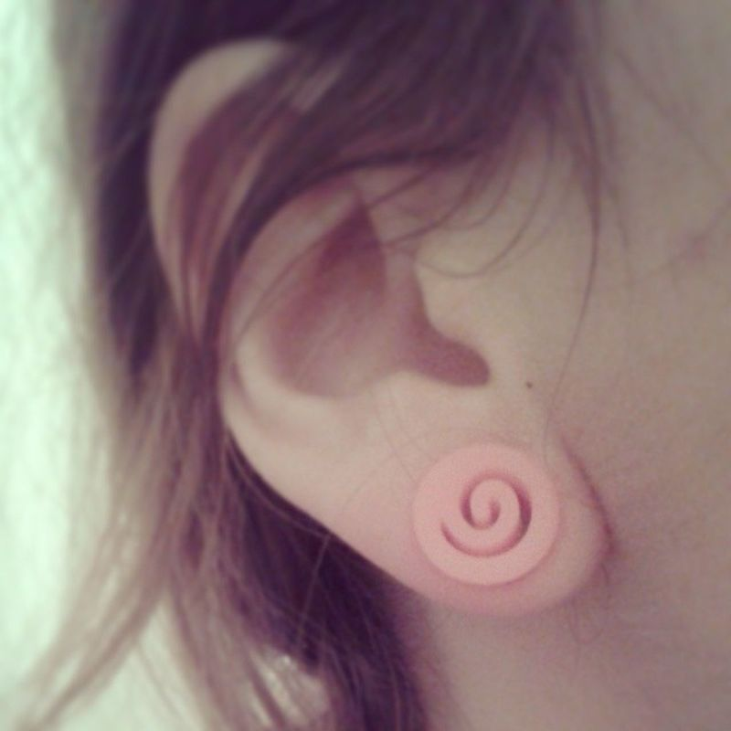 DILATA 10mm EXpanders Plugs cute ear pink