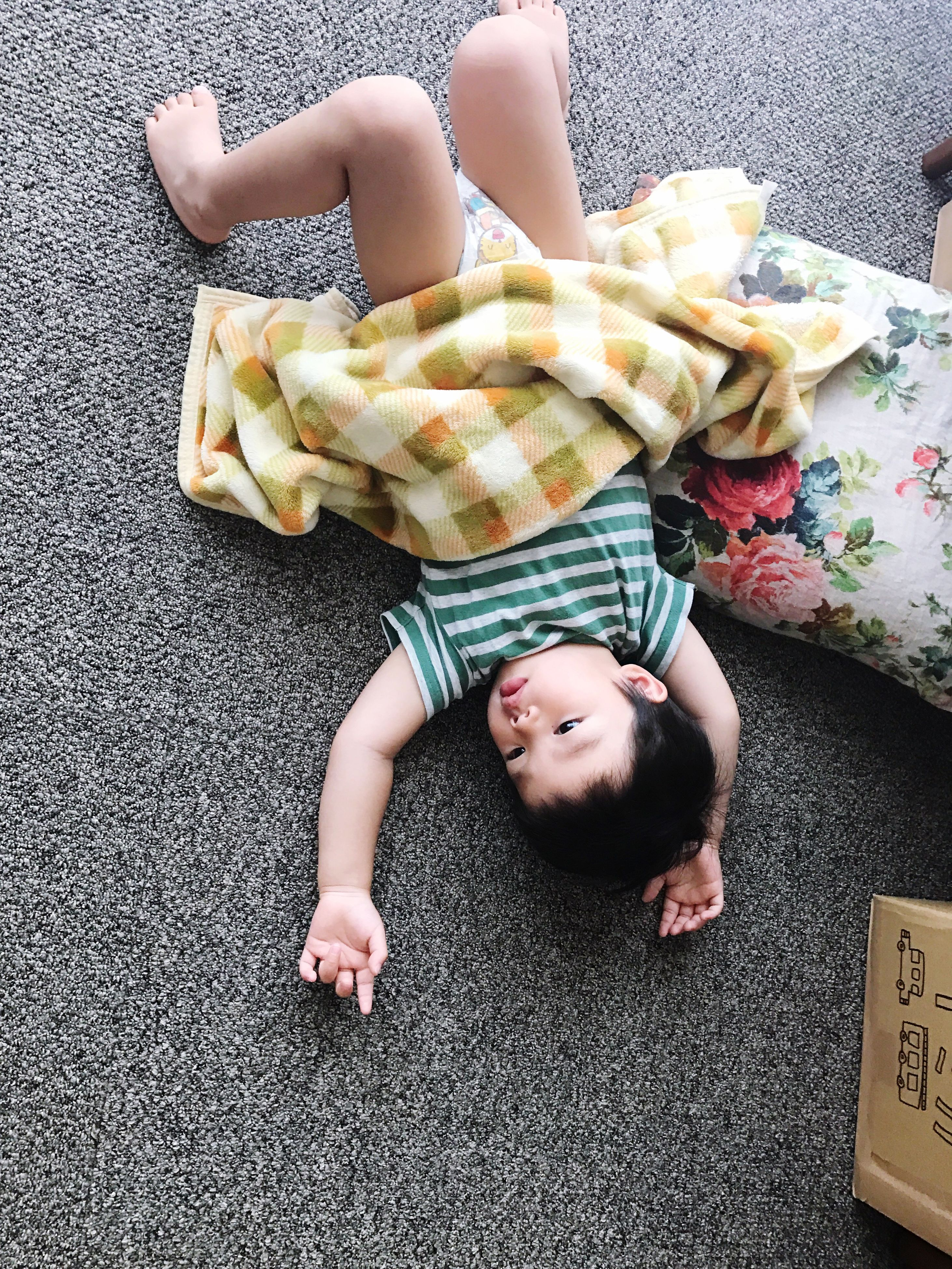 childhood, real people, high angle view, one person, indoors, lying down, home interior, leisure activity, lying on back, directly above, full length, boys, day, people