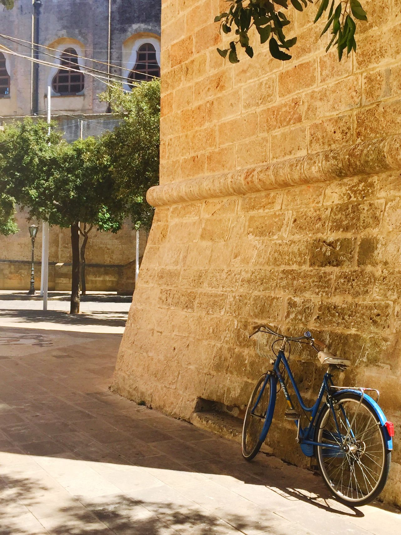 Sunny Day in Tricase Hidden Gems  Shadow Sunlight Colorful Hot Day Outdoor Blue Bicycle Puglia Italy Place Street Photography