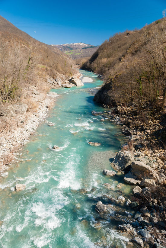 The river Trebbia across the Apennines during the winter Apennines Blue Sky Emilia Romagna Landscape Lombardia Lombardy Monochrome Nature Nature Outdoor Outdoors Rap River Sunny Trebbia Val Trebbia Water Winter