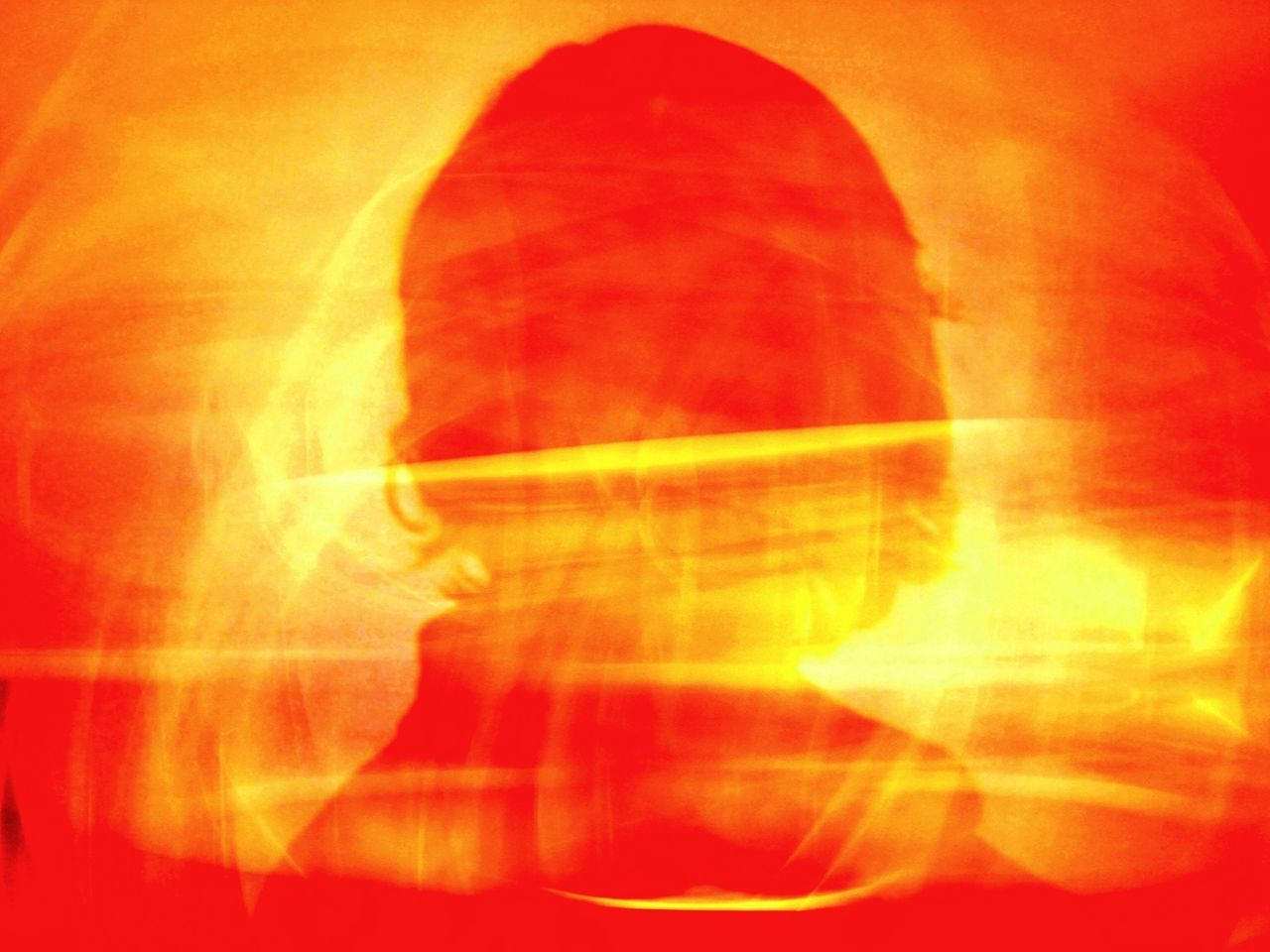 Double Exposure Image Of Person With Flames