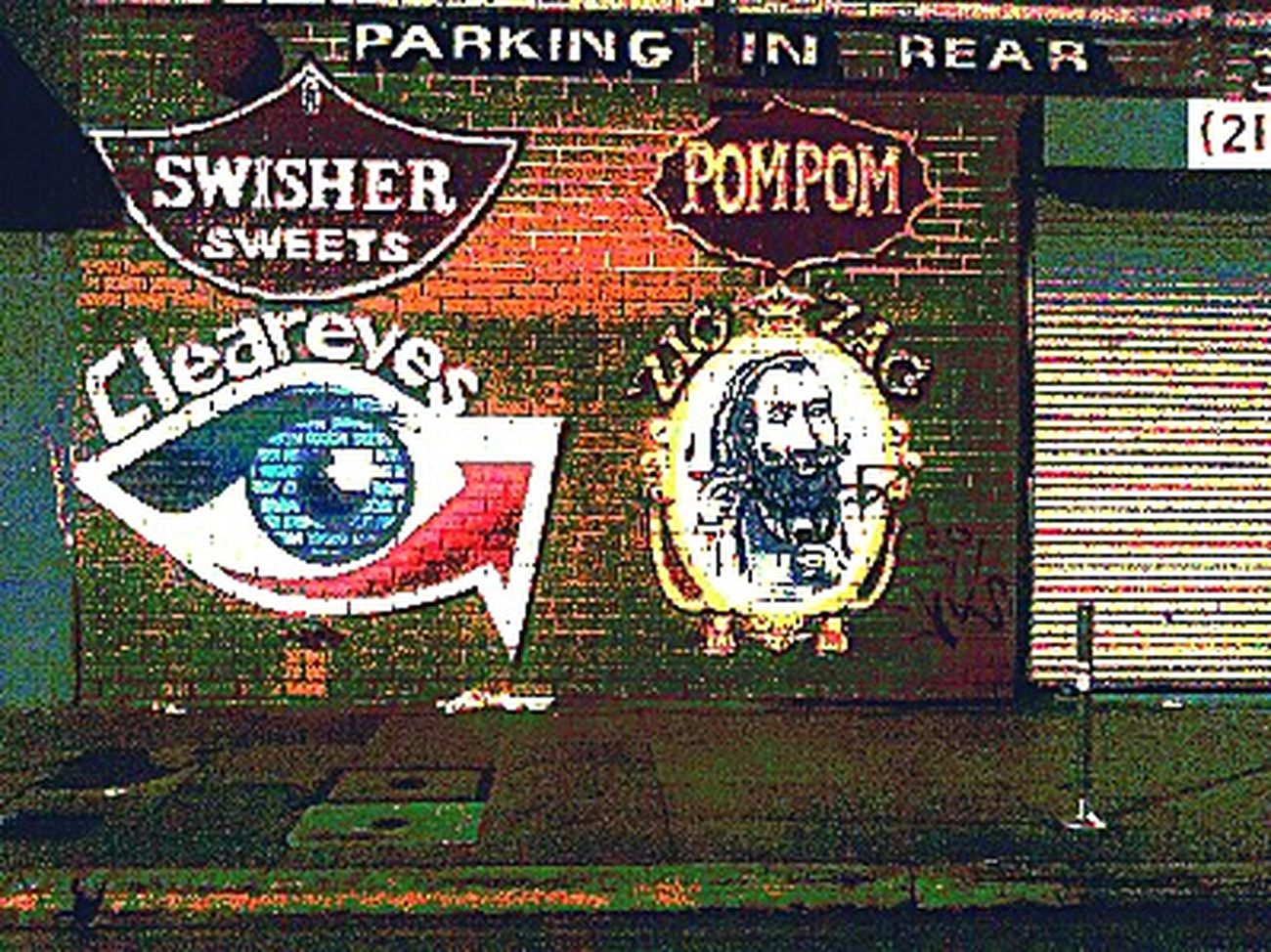 Streetphotography Wall Art Pompom Swisher Sweets Zig Zag Clear Eyes Cleareyes Parking In Rear Brickwall Logos