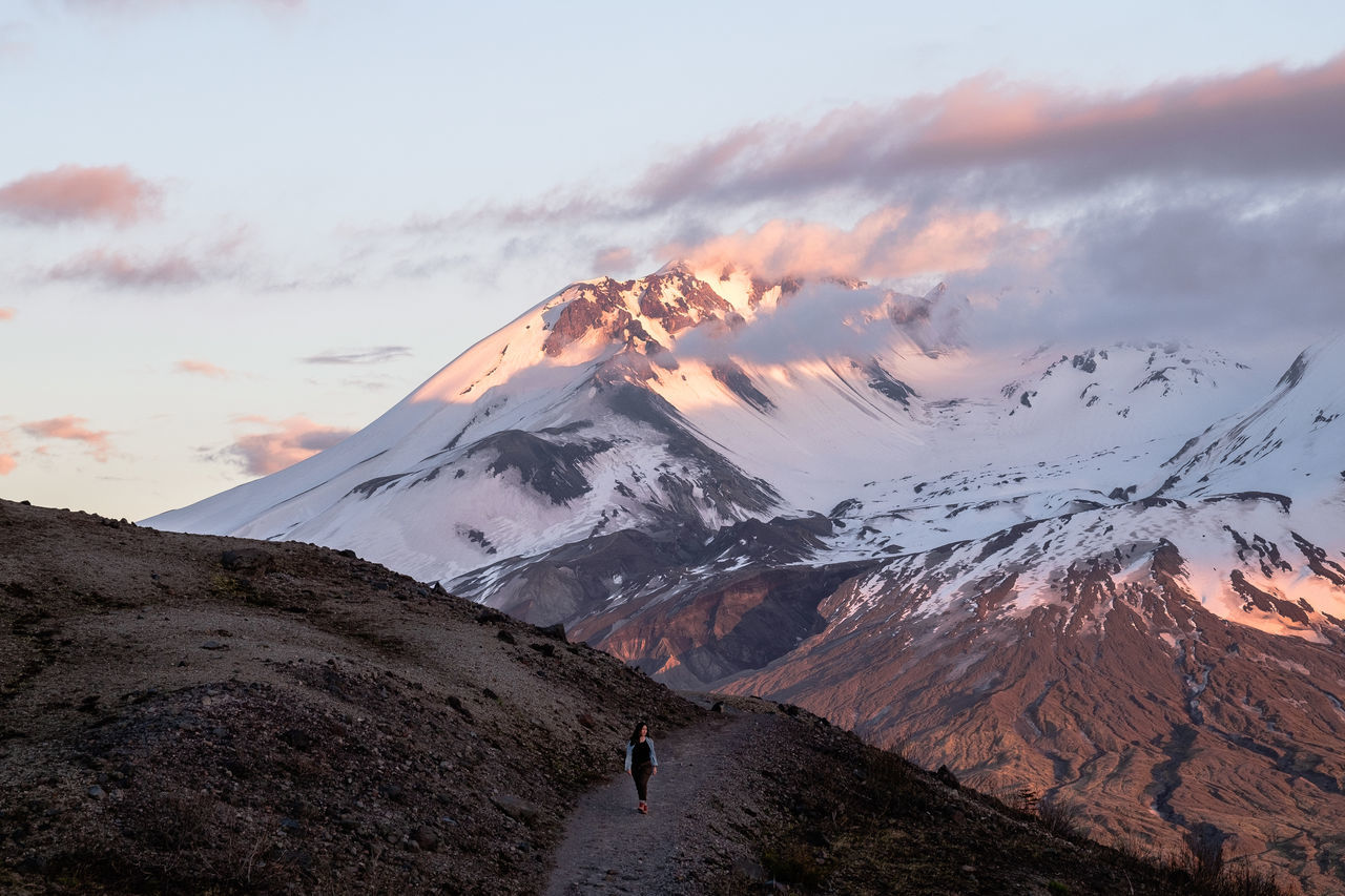Mt St Helens Adventure Beauty In Nature Cloud - Sky Cold Temperature Day Landscape Mountain Mountain Range Nature One Person Outdoors People Real People Scenics Sky Snow Snowcapped Mountain Sunset The Great Outdoors - 2017 EyeEm Awards Tranquil Scene Tranquility Winter
