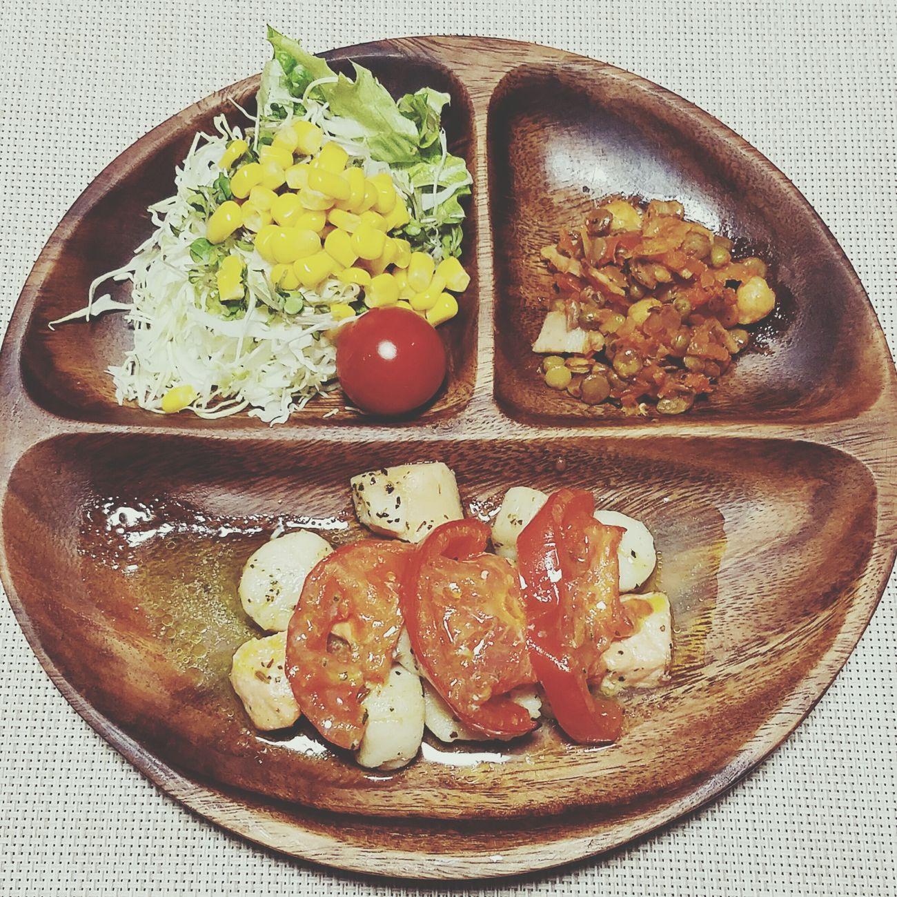 たまには海のものを🐟🐚 Food Plate Tomato Frijole Frijol Comidas Salmon Vieiras Salmon&Scallops Grilled