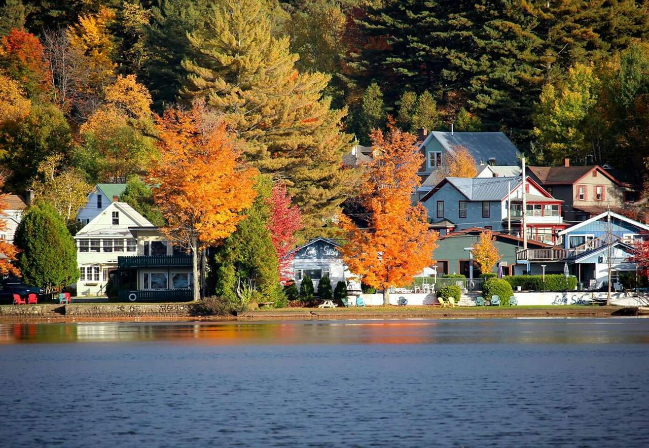 Scenic View Of Lake By Houses