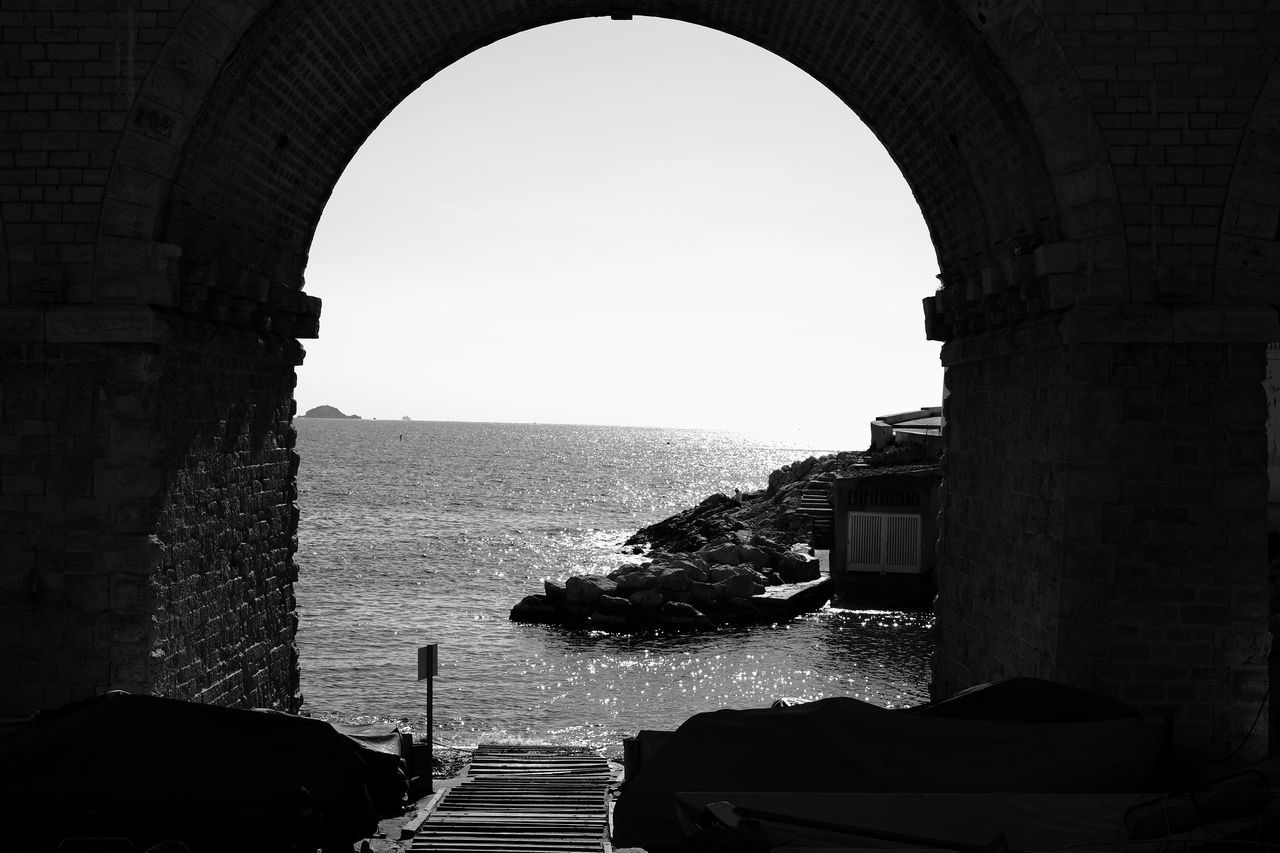Anse de la Fausse Monnaie Arch Architecture Archway Bridge Built Structure Day Fort History Indoors  Natural Arch Nature Sky Travel Destinations Fujifilm_xseries Fujifilm X-E2 Blackandwhite Black And White