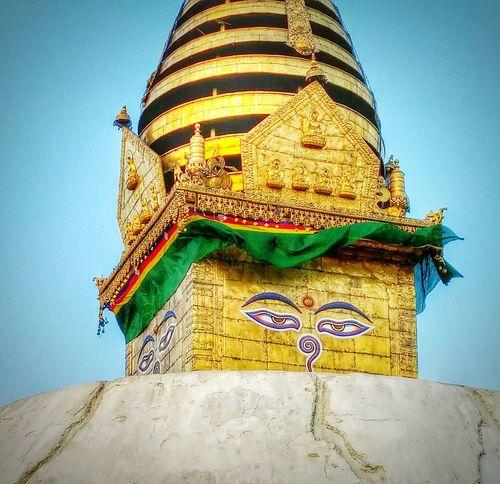 The golden dome of kathmandus monkey temple Myjourney Pray For Nepal Worldheritagesite