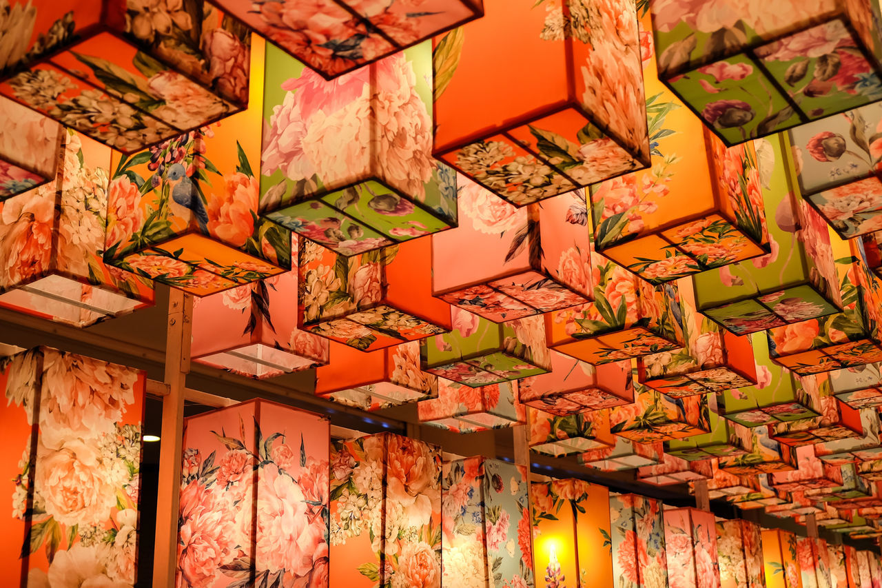 ceiling, multi colored, indoors, no people, full frame, backgrounds, architecture, day, close-up