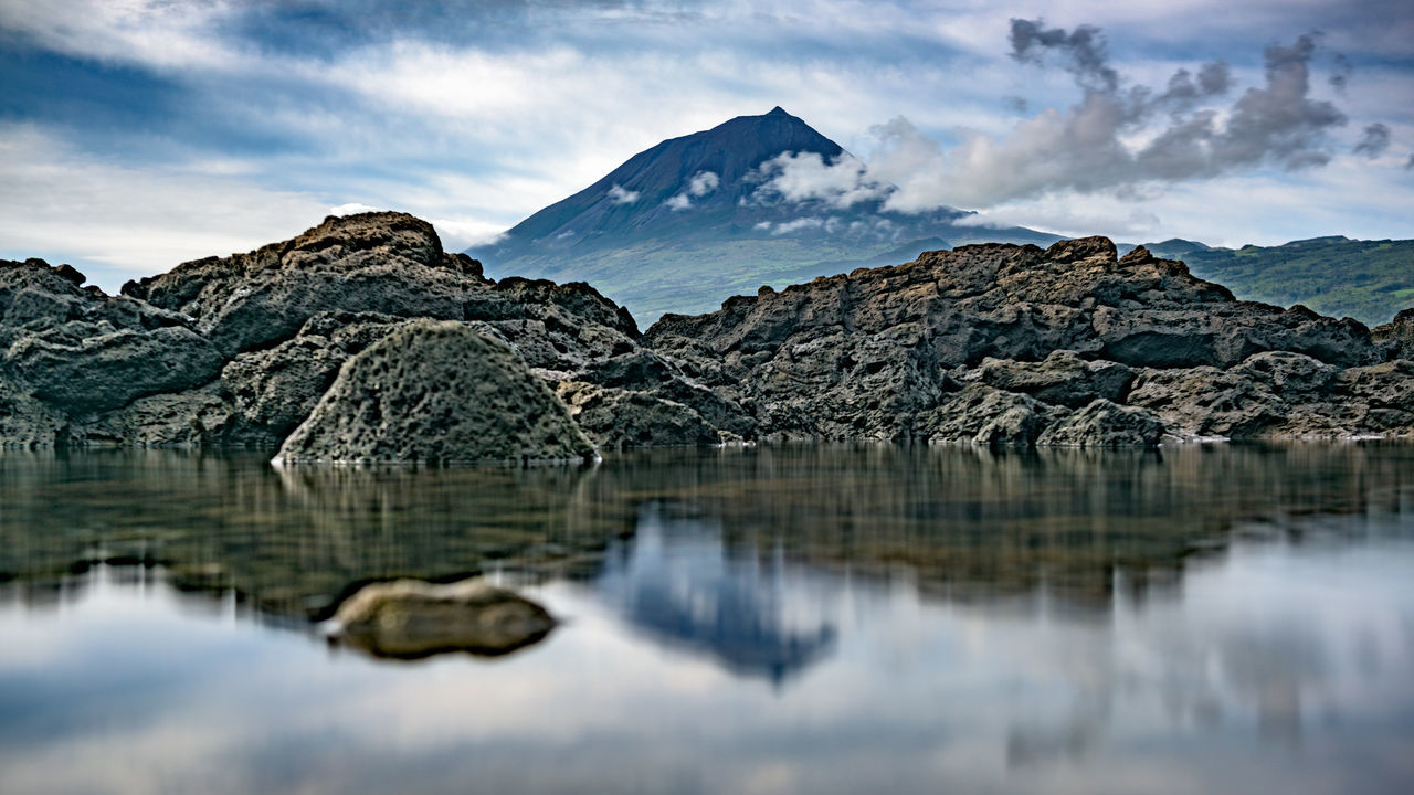 Beauty In Nature Cloud - Sky Copy Space Day Hiking Lake Landscape Long Exposure Mountain Nature No People Outdoors Pico Pico Açores Portugal Reflection Reflection Rock - Object Scenic Scenics Sky Tranquil Scene Tranquility Volcano Waterfront