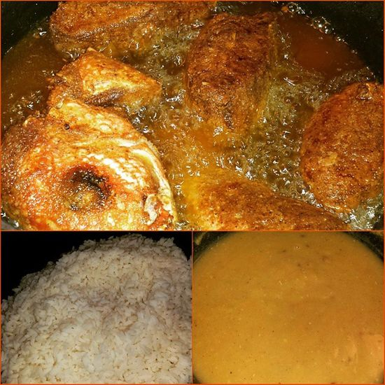 It's snowing outside but it's hot like fire inside!!! Lunchtime Feedme Imhungry GuyaneseStyle homecooked homecooking homemade ironchef icancook dhall rice friedfish redsnapper cookingwithfriends friendswhoarelikefamily LASH