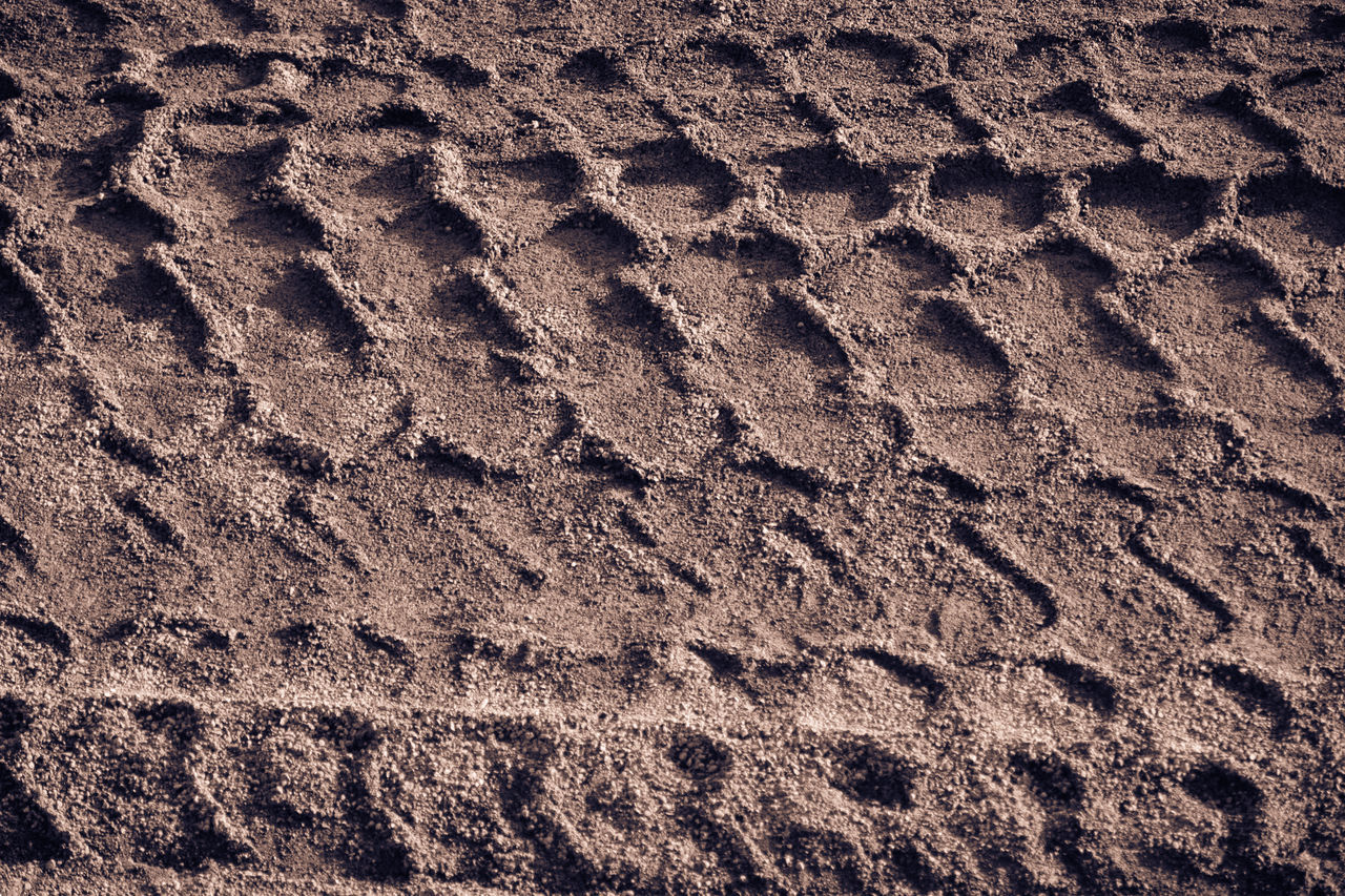 Backgrounds Beach Brown Close-up Day Full Frame Impronte Mammal Nature No People Outdoors Pattern Pneumatic Preumatik Print Sand Sand Print Textured  Tire Print