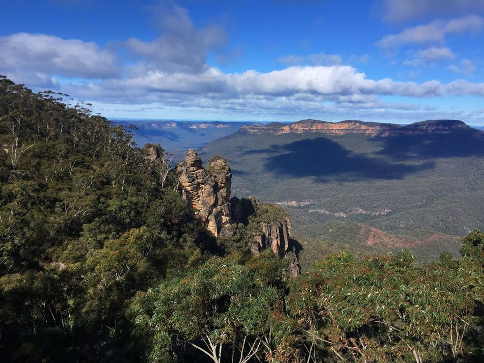 Taking Photos Traveling Travel Sydney Blue Mountains The Three Sisters Nature Mountains Rock Blue Sky Clouds And Sky Light And Shadow IPhoneography