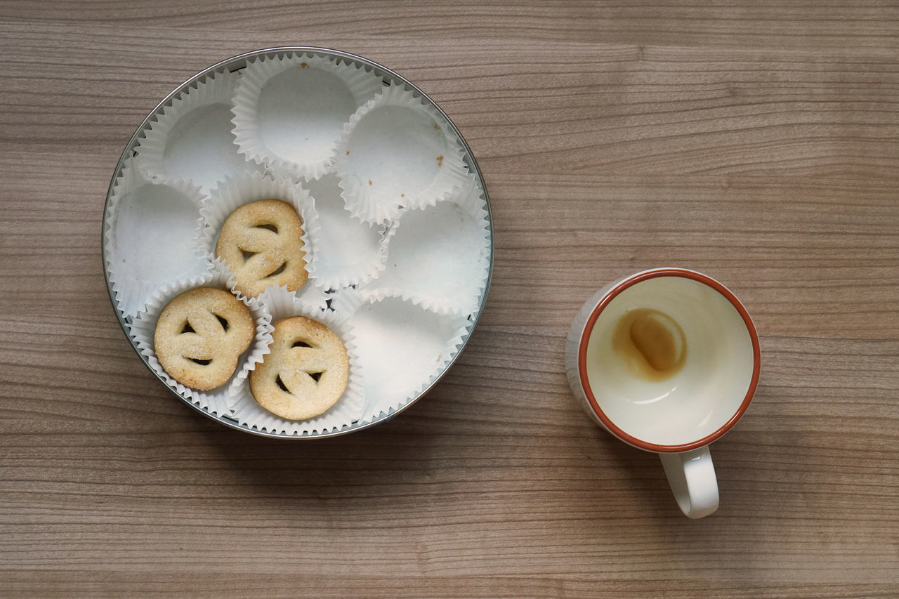 Biscuit Tin Box Coffee Cookie Cookie Tin Cup Directly Above Drink Empty Food Food And Drink High Angle View Indoors  Indulgence Mug No People Sweet Food Table Temptation