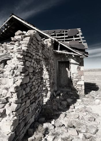 """""""Mystery Ranch No. 11"""" Corner Suite. New Mexico Photography New Mexico Skies New Mexico Ruins Abandoned & Derelict Abandoned Buildings Abandoned Places Abandoned Stone Buildings Stone Built Structure Outdoors Day No People Architecture Building Exterior Sky"""