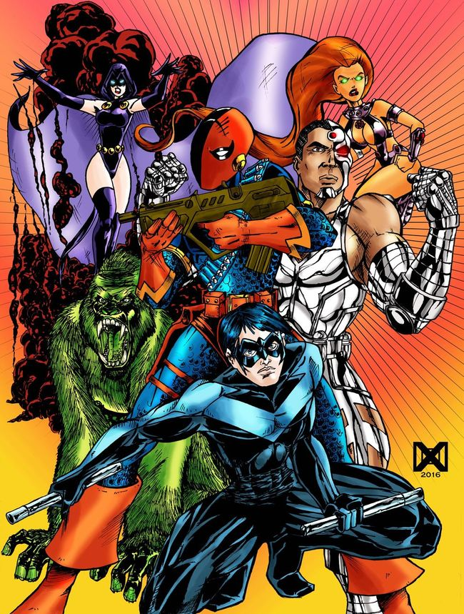 Teentitans DComics Drawing Ink Inking Doodle Fanart Robin Starfire Sketch Sketching Color background version of a previous post on IG First Eyeem Photo