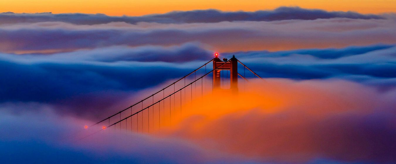 Flying High Dusk Sunset Sky Cloud - Sky Tranquility Outdoors Railing Silhouette Sea Nature Night No People Sunset_collection Sunsset Clouds And Sky Bridge California Sky And Clouds
