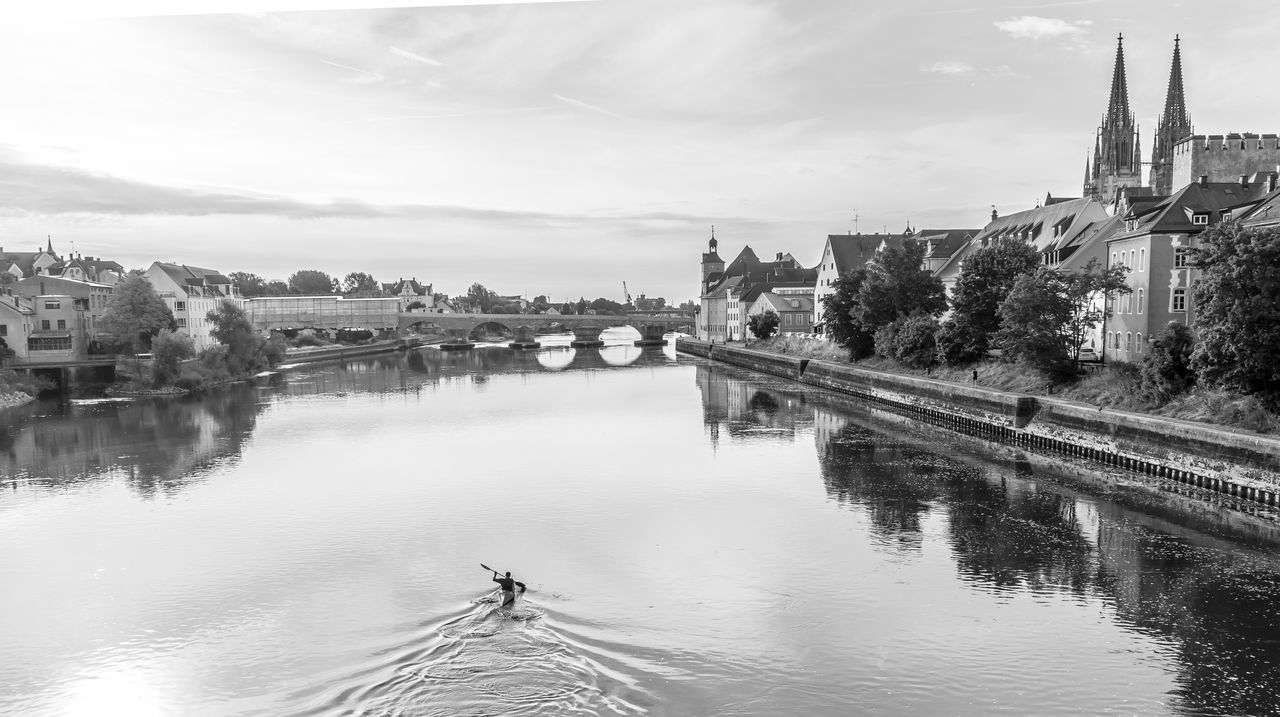 Black & White Cityscape Donau Morning Light Architecture Black And White Boat Bridge - Man Made Structure Building Exterior Built Structure City Cityscape Connection Day History Nature No People Outdoors Paddle River Sky Transportation Travel Destinations Water