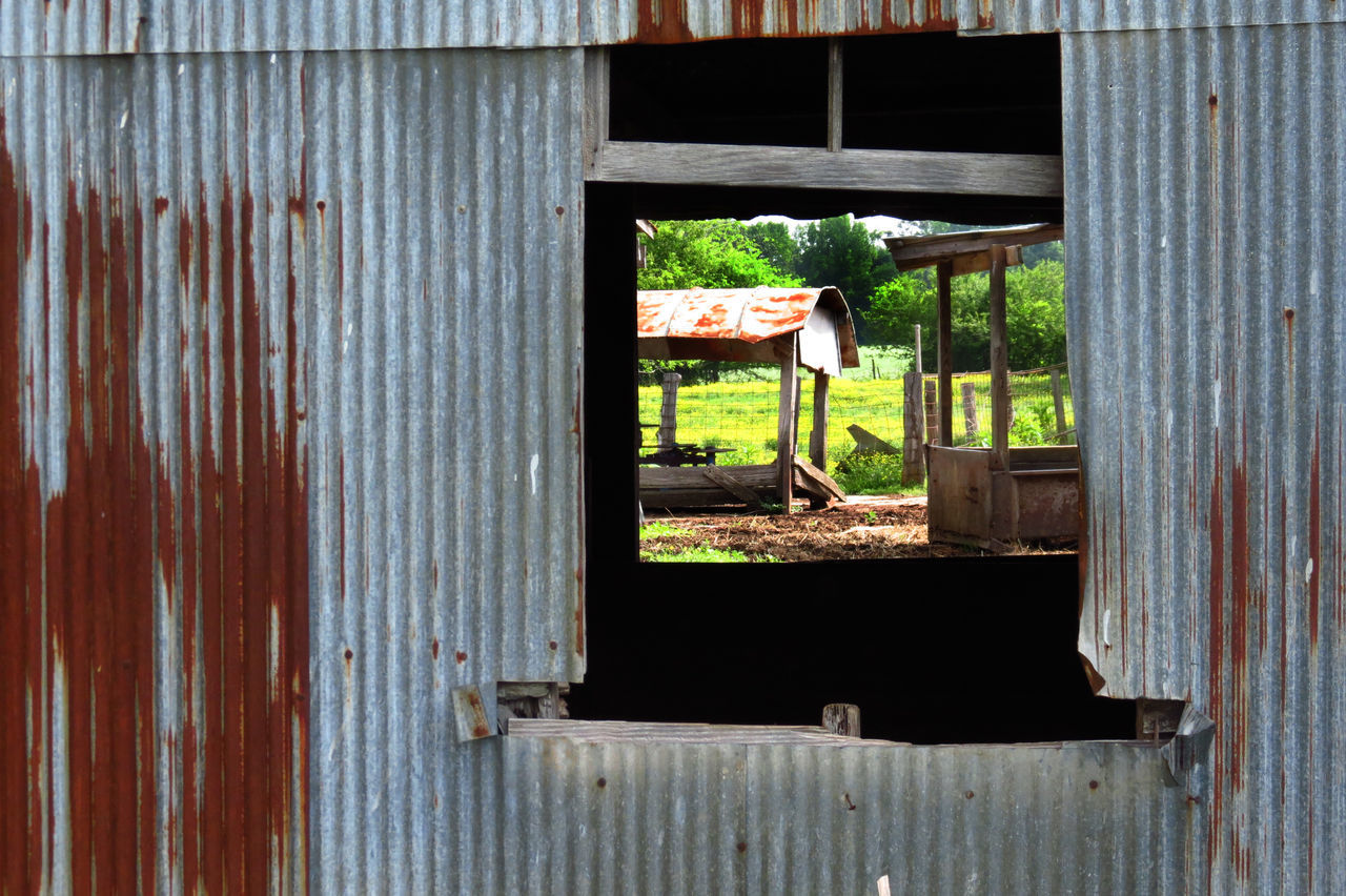 Barn Built Structure Daylight Photography Farm Farm Life Farm Yard Meadowlands Picture In A Picture Spring Springtime Textures And Surfaces Tin Trees And Nature Weathered Metal Weathered Wood Window View