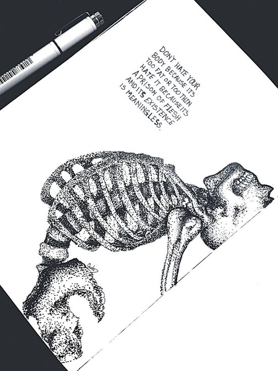 Here is another one I've done recently Art Art, Drawing, Creativity Serial Doodler Skeleton Bones Spooky Existentialism Quotes Drawing Sketch