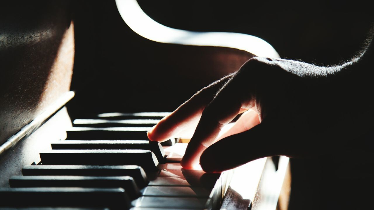 music, musical instrument, piano, piano key, one person, real people, arts culture and entertainment, human hand, playing, musical equipment, indoors, pianist, human body part, close-up, skill, musician, leisure activity, lifestyles, keyboard, day, people