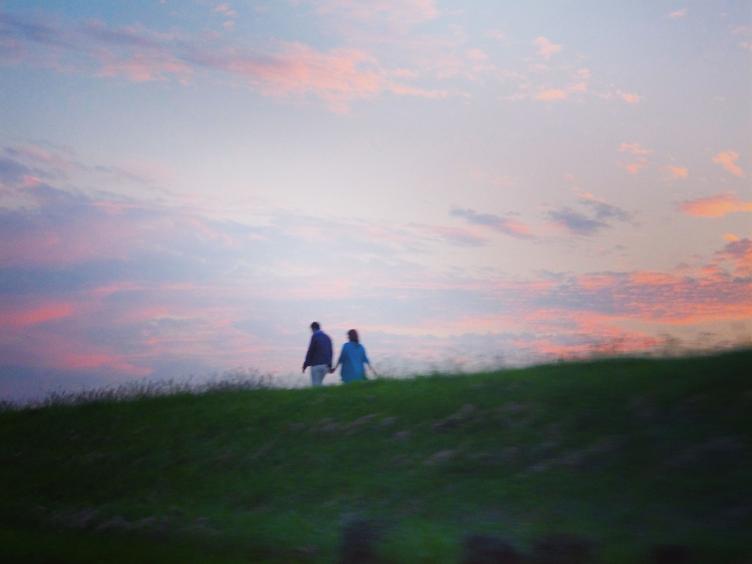 sky, sunset, landscape, tranquil scene, field, tranquility, men, lifestyles, grass, leisure activity, scenics, beauty in nature, rear view, silhouette, nature, standing, cloud - sky, person