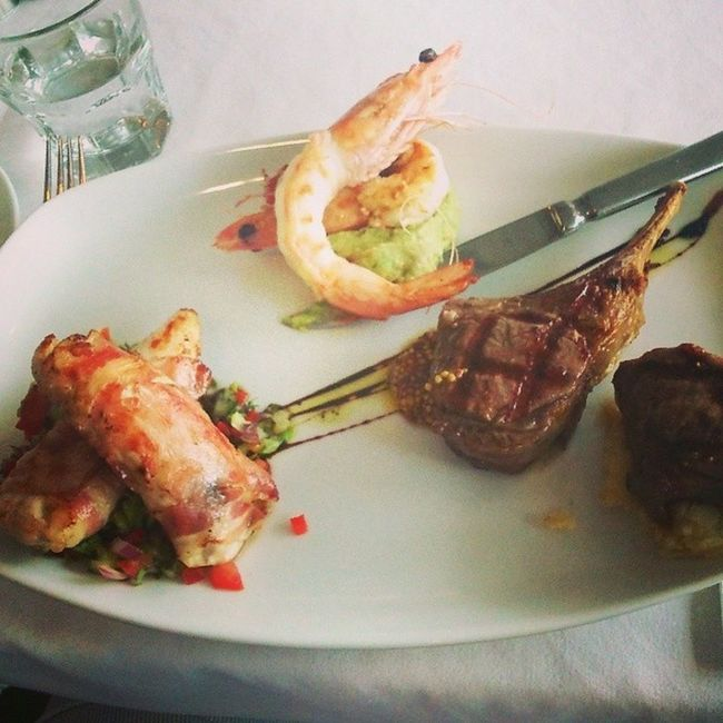 A Hearty Cornucopia of Avo Prawn , lamb & salsa chicken in bacon, at a goodview (and good-cooking) Italian restaurant.