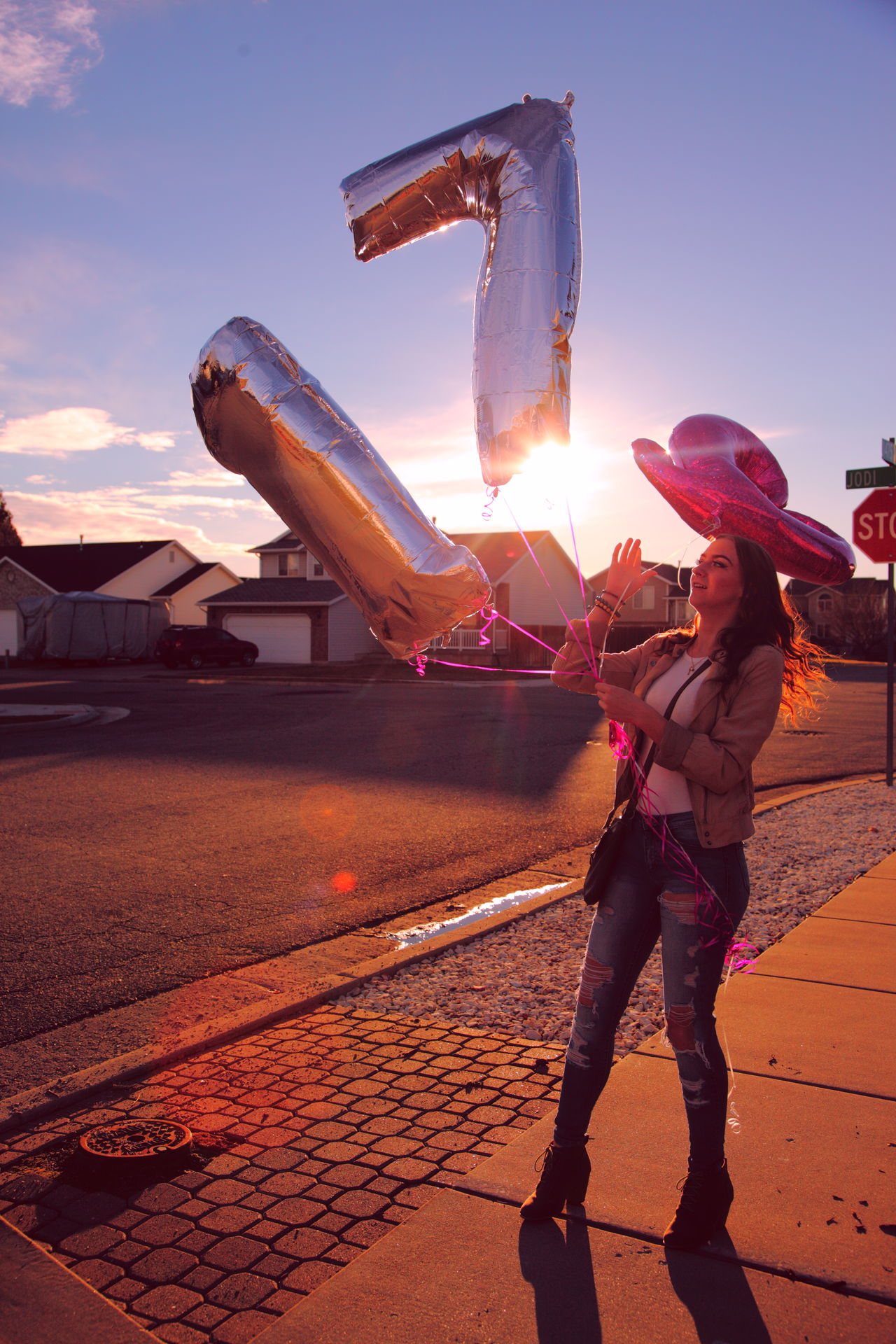 Happy 17th birthday! 17 Backlight Balloons Birthday Family Fun Girl Girls Happy Love One Person Outdoors Party People Portrait Seventeen Silhouette Sky Standing Sunset Teen Teenager Young Adult Women Around The World