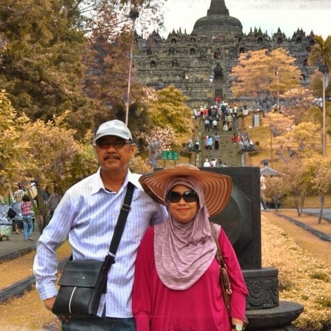 my mom and dad at borobudur