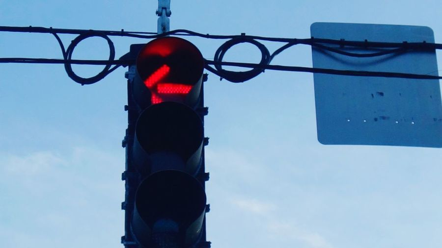 Red Light Turn Lane Stoplight Traffic Lights Sign Low Angle View Sky Daylight Drivers View Through The Windshield