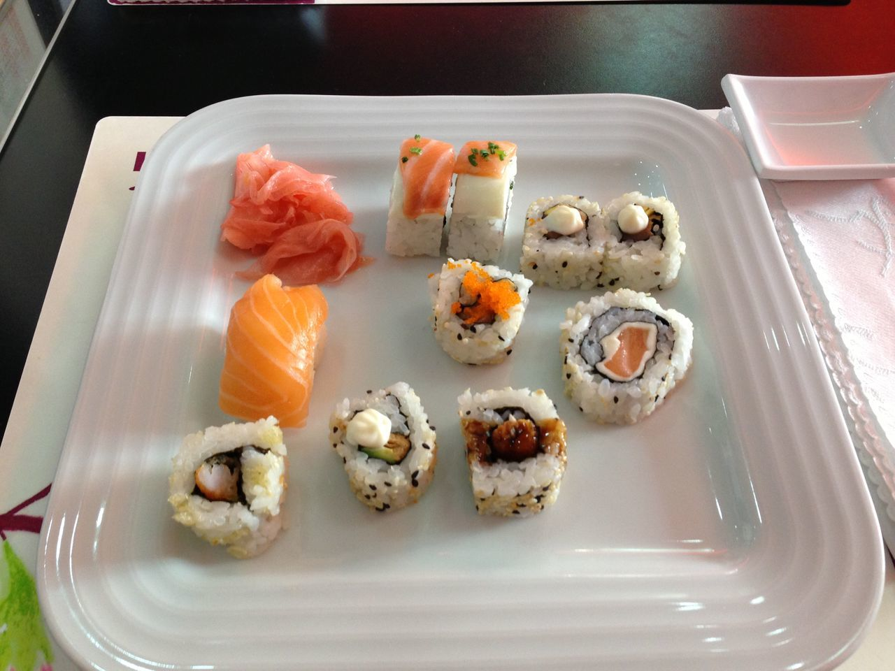 High Angle View Of Sushi Served In Plate