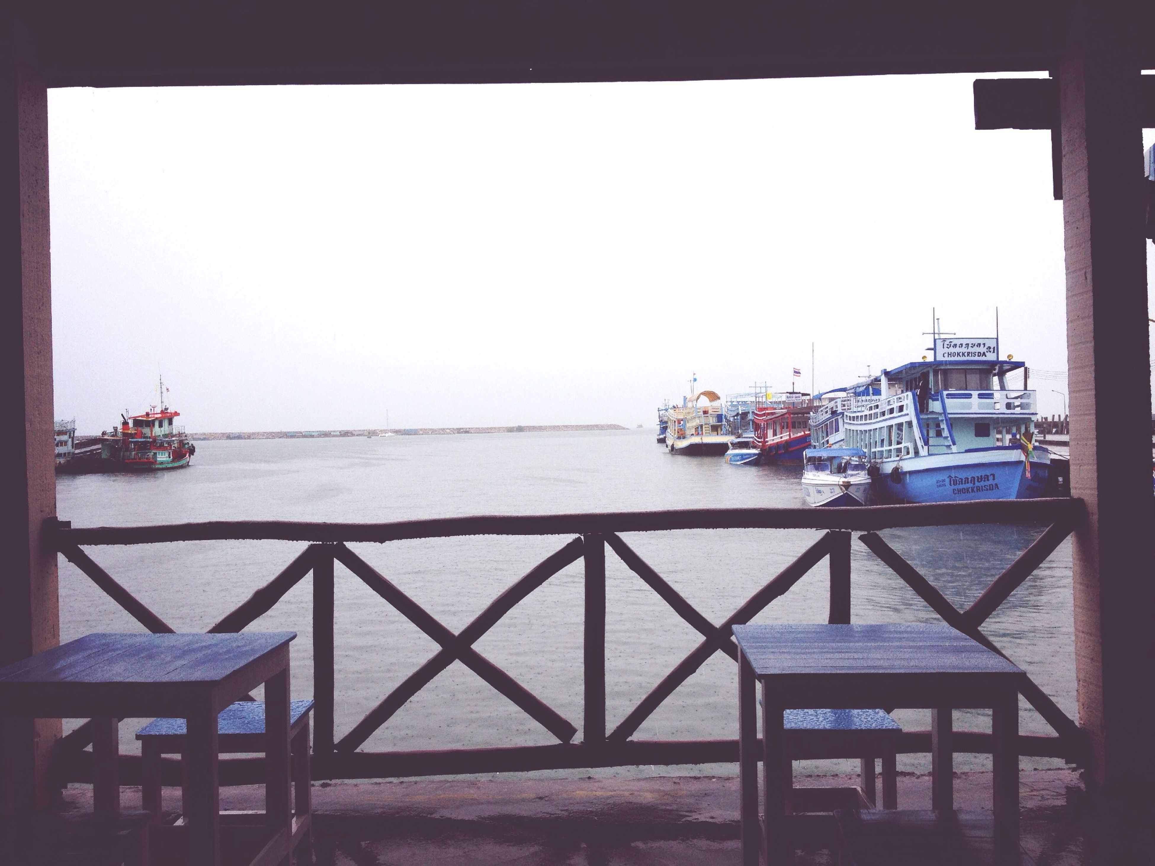 sea, water, nautical vessel, clear sky, transportation, mode of transport, boat, transfer print, copy space, built structure, auto post production filter, moored, horizon over water, architecture, pier, railing, sky, harbor, nature, day