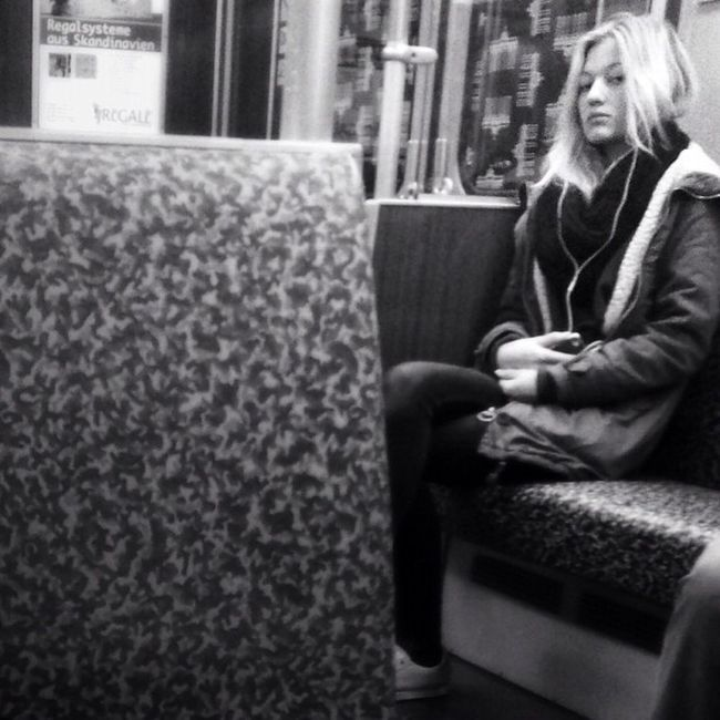 Respect me Streetphoto Blonde Street Busted Streetphotography Woman People Monochrome Berlin Bw Subway Bnw Metro Insta_germany Candid Subwaytrain Blackandwhite Totallybusted Underground Train Portrait Girl Germany Tube