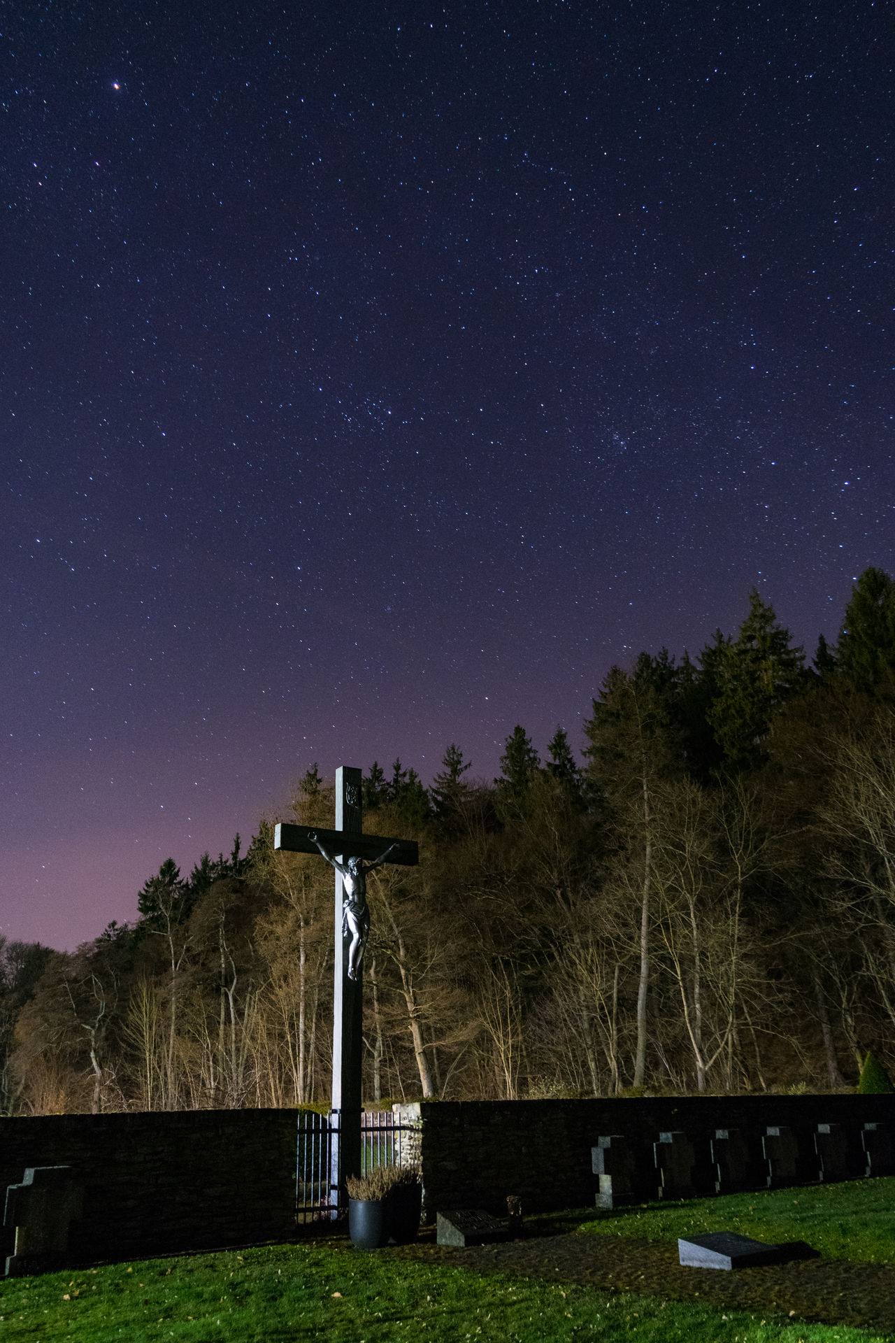 """Cemetery of Monastery """"Marienstatt"""" by night Astronomy Beauty In Nature Cross Galaxy Milky Way Nature Night No People Outdoors Religion Religious Architecture Sky Star Star - Space Star Field EyeEm Best Shots"""