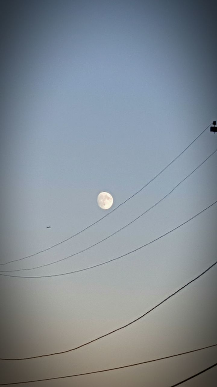 moon, low angle view, nature, crescent, no people, cable, clear sky, outdoors, beauty in nature, half moon, sky, astronomy, day