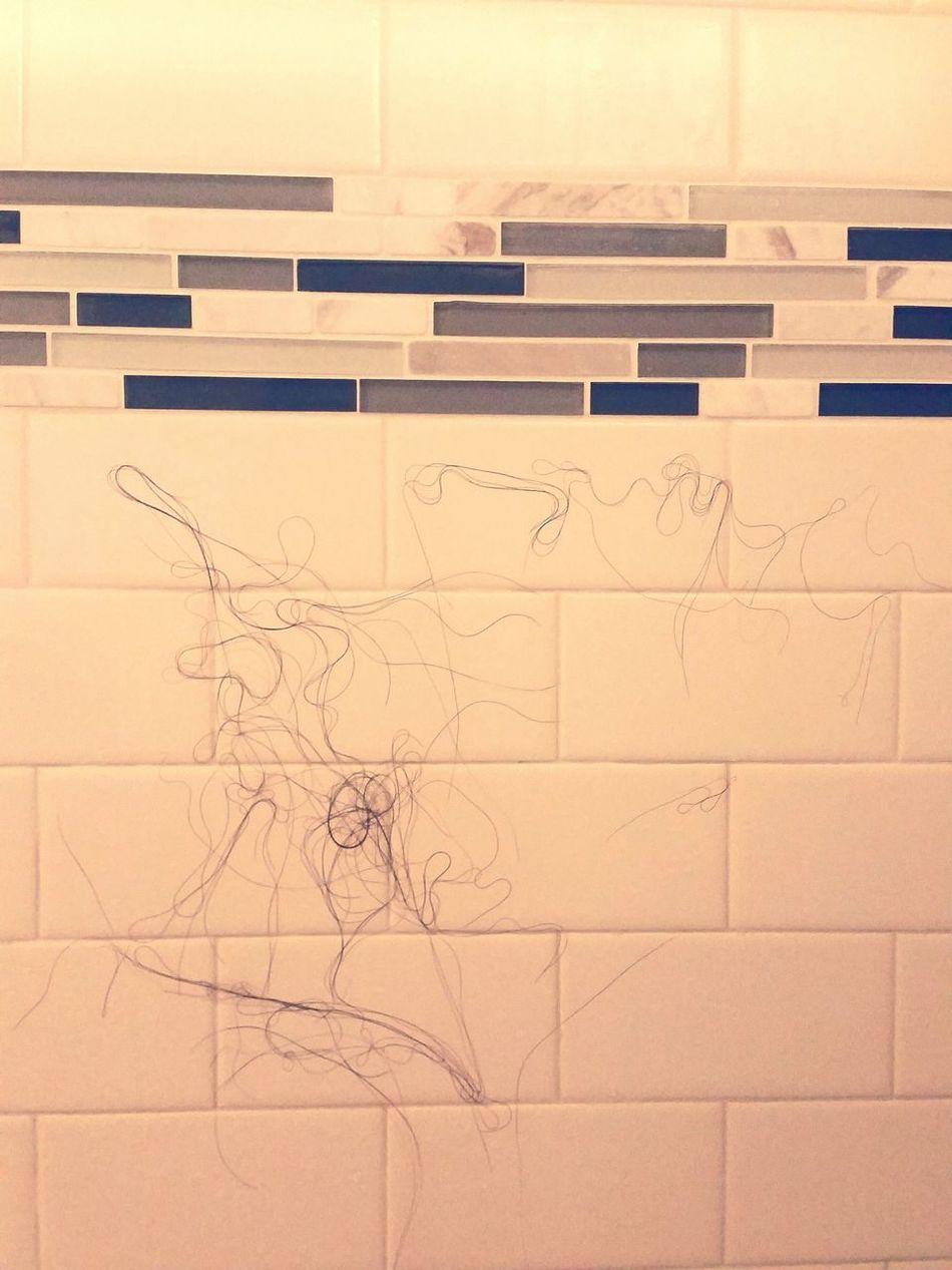 Found a creature in my shower stall....looks like Bambi's dad. Showerart Shower Scene Hairart Wifeyshair isthisart
