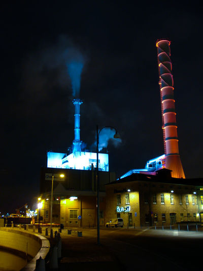 Nightphotography Poweplant Spooky Light Colors Night Illuminated Industry No People Architecture Outdoors City