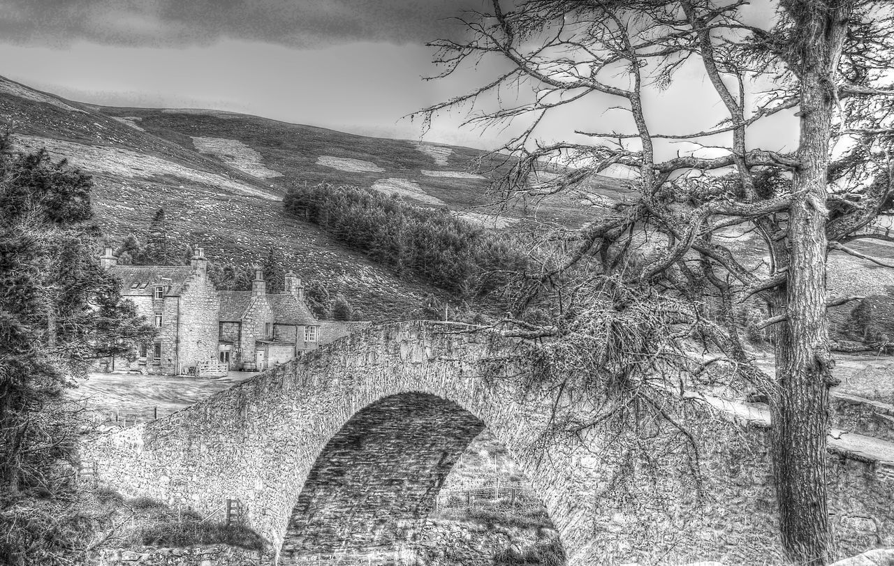Highland village - Scotland Architecture Blackandwhite Photography Building Exterior Built Structure Day Highlands Of Scotland History Mountain Nature No People Outdoors Sky Tree Vıllage