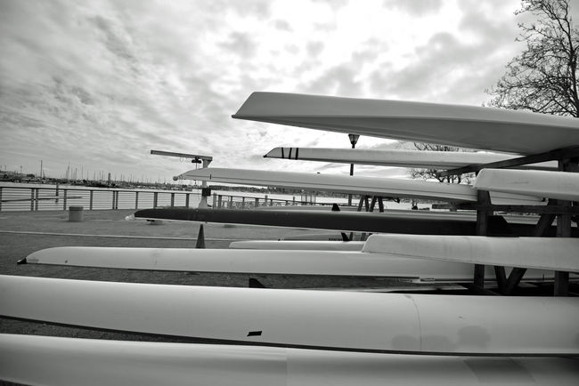 Jack London Aquatic Center @ Estuary Park 7 Jack London Square Marina Embarcadero Cove Oakland Harbor Waterfront Pier Rental Facility Boat Dock Boat Launch Boat Rental Aquactic Center Aquatic Soorts Rowing Club Kyacks Racked & Stacked Black And White Black And White Collection mm Blackandwhite Photography Geometric Patterns