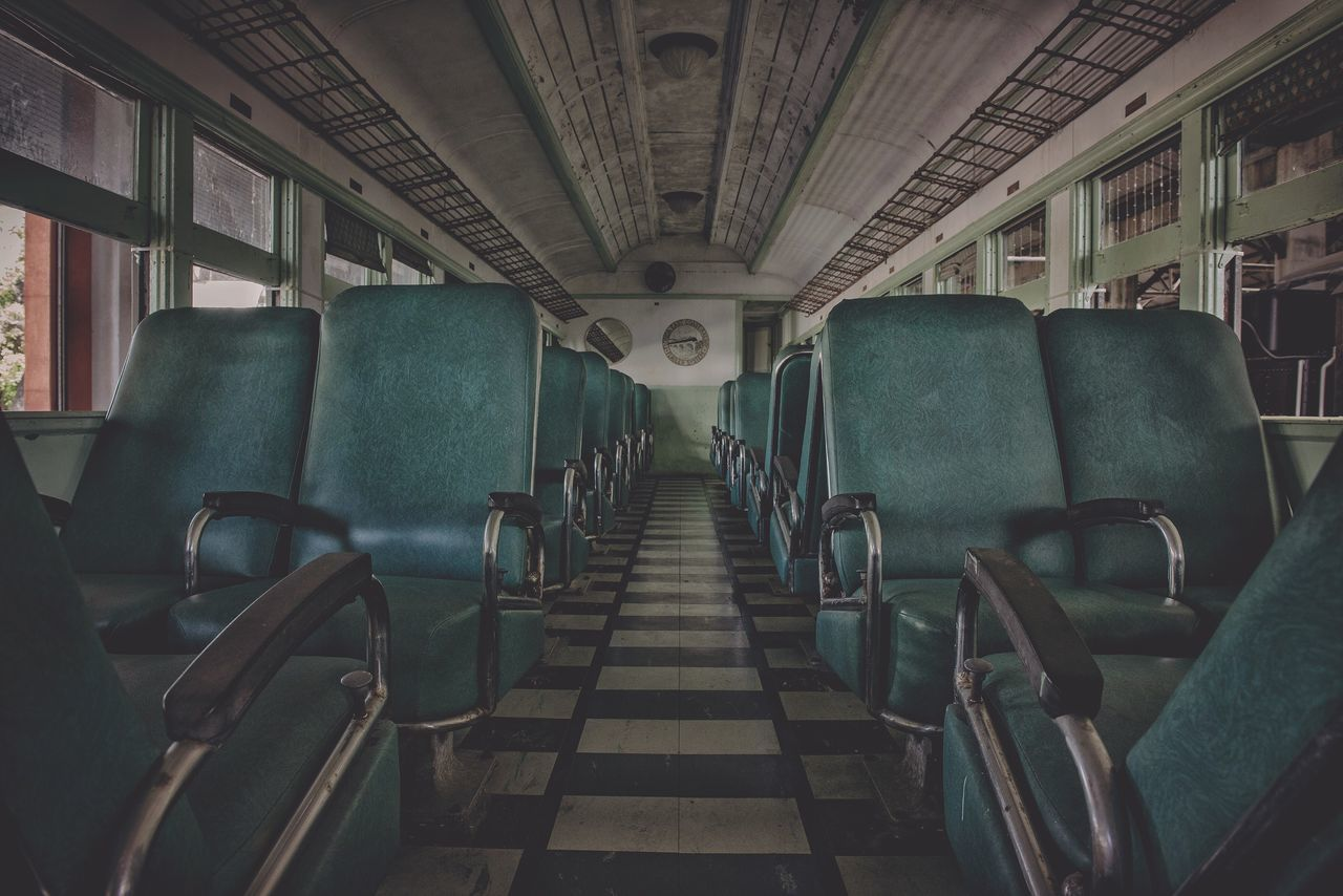 Vehicle Interior Vehicle Seat Travel Transportation Mode Of Transport In A Row Indoors  Public Transportation No People Day Airplane Seat Train Train Station Leading Lines