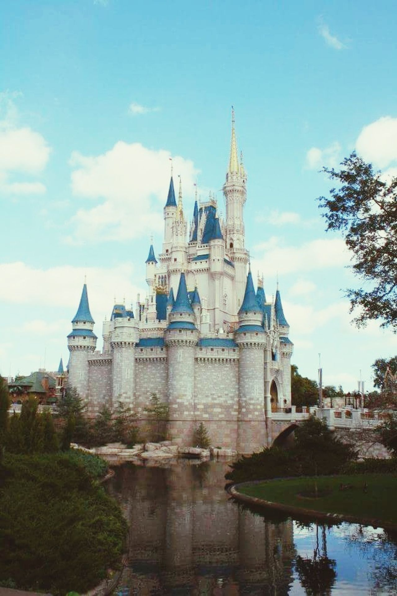 Disney Disneyland Cinderella Castle Architecture Magic Kingdom Magic Kindom Castle DisneyMagic  Disney Land Castle View  Magical Outdoors Waterfront Travel Destinations Architecture Landscape No People Water Tree Sky Landscape_Collection Landscape_photography Landmark Landmarks DisneyMagic