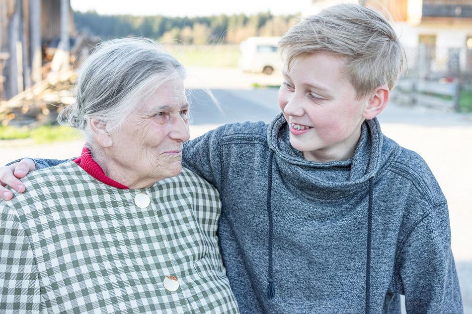Beautiful stock photos of granny,  12-13 Years,  80 Plus Years,  Arm Around,  Autumn